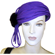 Vintage Hat Purple Black Sable
