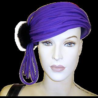 Vintage Hat Purple Black Sable