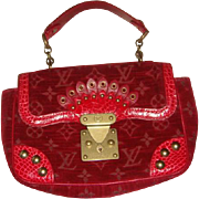 Louis Vuitton Red Limited Edition Rare Alligator Bag