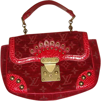 Louis Vuitton Bag Limited Edition Rare Red Velour Alligator