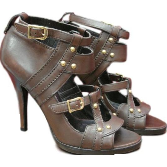 Gucci Leather Sandal Stiletto Bootie Heels