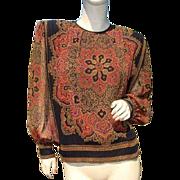 Rare Mario Pucci Cecconi Italy Creeds Toronto Silk Blouse