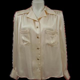 Rare Chanel Silk Blouse CC Logo Buttons Creeds