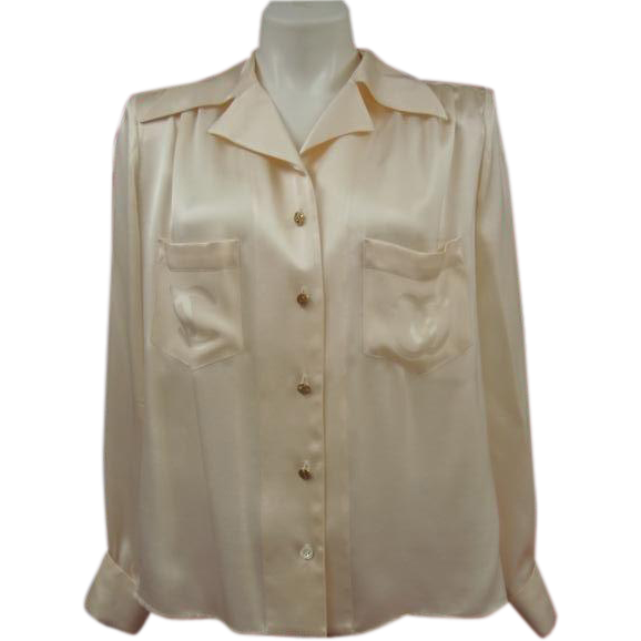 Rare Chanel Silk Blouse CC Logo Buttons Creeds