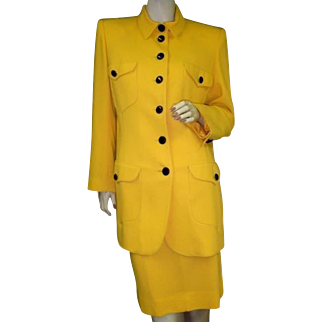 Ungaro Suit Jacket Skirt Wool 1990's