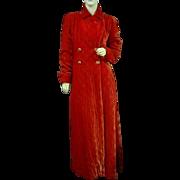 Vintage 1950 Opera Coat Shimmering Red Velvet