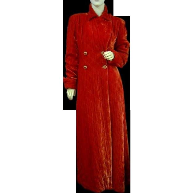 Vintage Opera Coat Shimmering Red Velvet