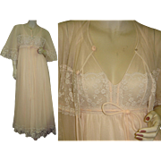 Intime California Peignoir Set Nightgown Robe 1950's