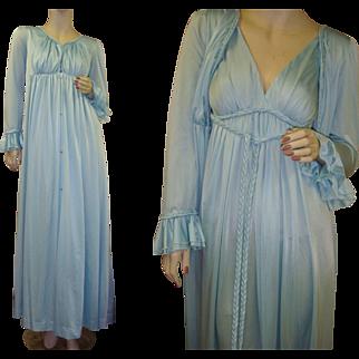 Vintage Ruffled Blue Nightgown Peignoir Robe Set