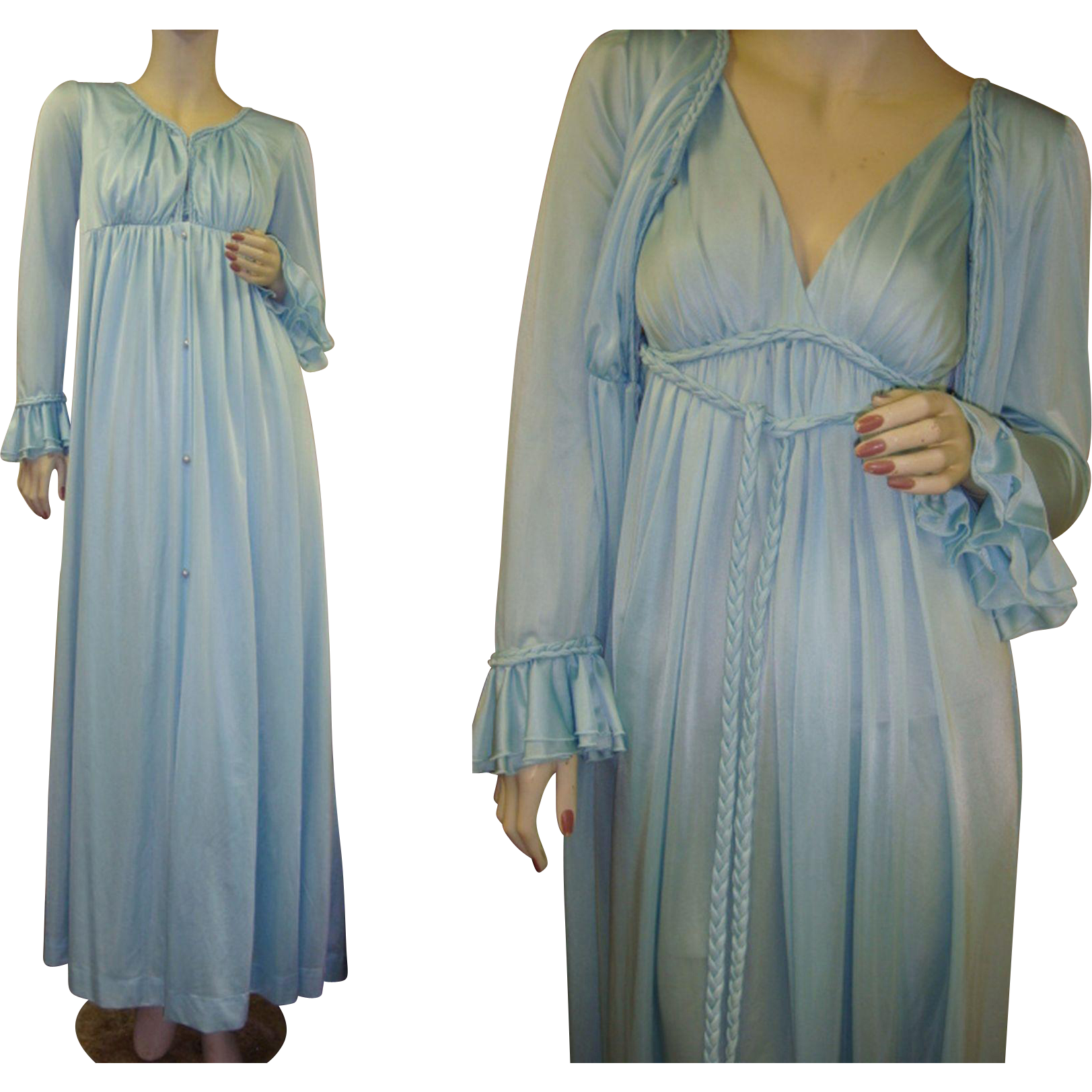 Vintage Ruffled Blue Nightgown Peignoir Robe Set