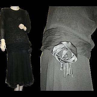 Flapper Dress Black Lace Silk Crepe 1920 Art Deco