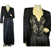 Rare Olga Nightgown Peignoir Robe Set in Black
