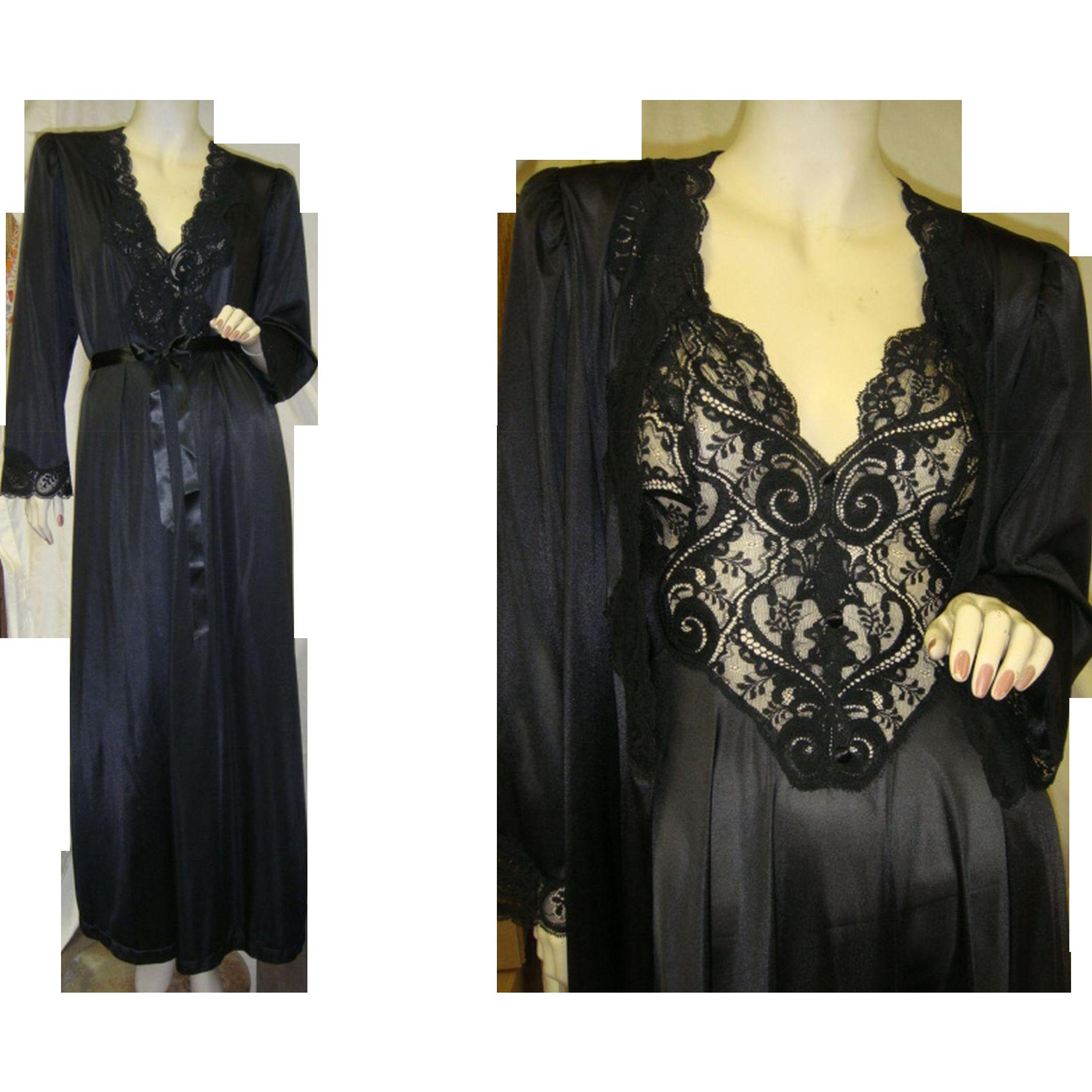 Rare Olga Nightgown Peignoir Robe Set in Black
