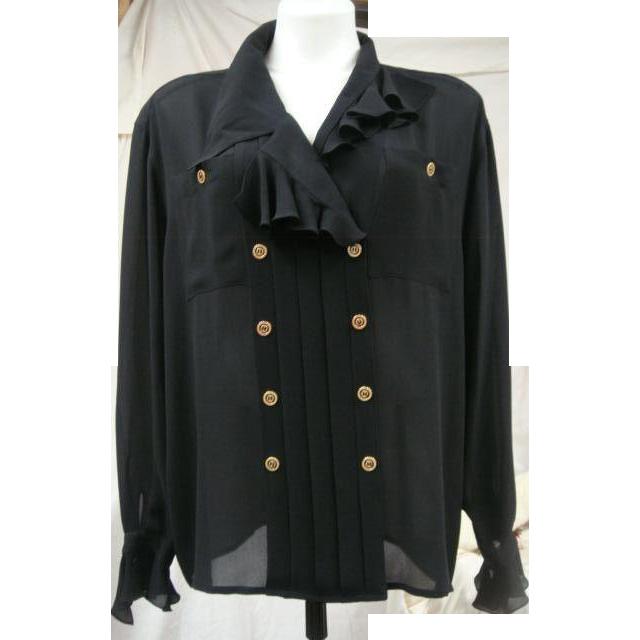 Karl Lagerfeld Black Silk Blouse Made in France Vintage