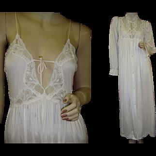 Petite Lily of France Nightgown Peignoir Robe Set Vintage