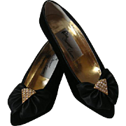 Ferragamo Heels Black Velvet Glittering Rhinestones and Bows