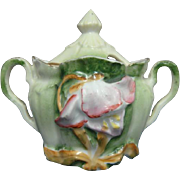 RS Prussia Mustard Pot Blown Out Mold Hand Painted