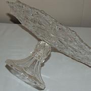 EAPG US Glass Pedestal Cake Stand Salver Shosone Blazing Pinwheel Diamonds