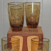 Libbey Set of Four Golden Pine Cone Iced Tea Glass Tumbler NOS