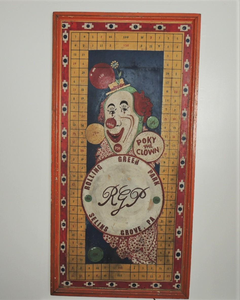 Huge Rolling Green Park PA Dartboard Game Poky Clown Sign