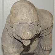 Cement Garden Statue 1950s Bear with Football Helmet