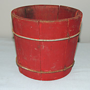 Small Firkin Bucket w Red Paint