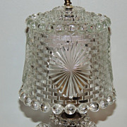 Art Deco Herringbone Leaf Glass Boudoir Lamp