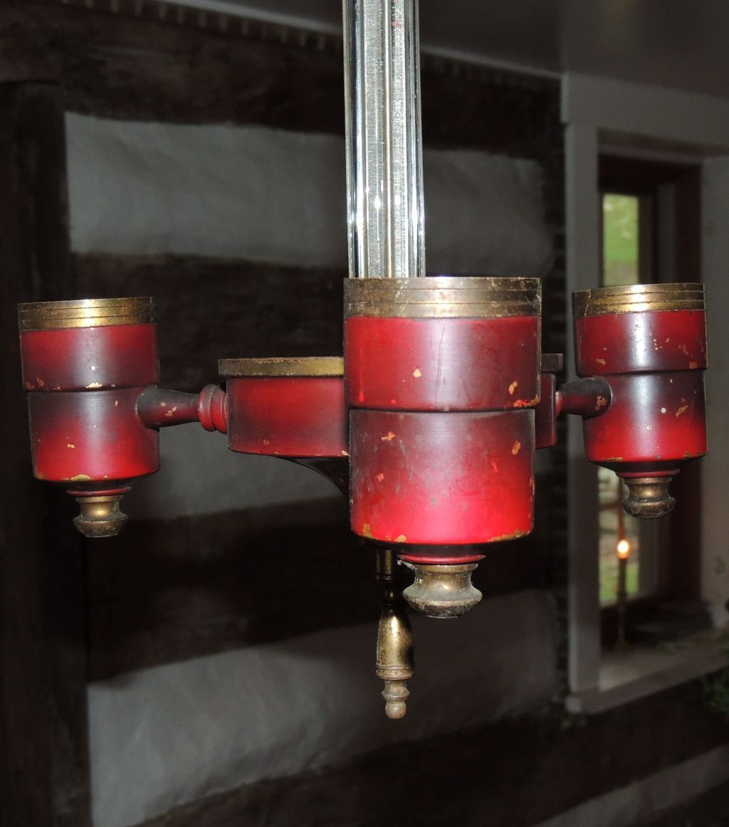 Red Toleware Amp Glass Chandelier Hanging Light Fixture From