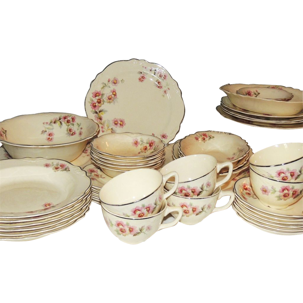 homer laughlin virginia rose dinnerware dishes 44 pc from conjunktionjunktionantiques on ruby lane. Black Bedroom Furniture Sets. Home Design Ideas