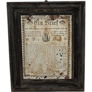 1783 Framed PA German Broadside Folk Art Biblical House Blessing