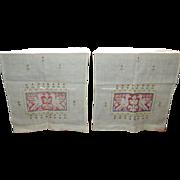 Pair Homespun Linen Table Runner Dresser Scarf Embroidered Birds