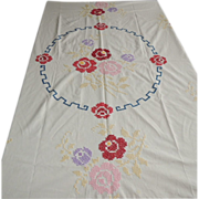 Vintage Cross Stitch Embroidery Linen Tablecloth