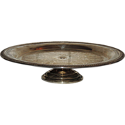 Silverplate Cake Plate Stand Salver with Baroque Pattern