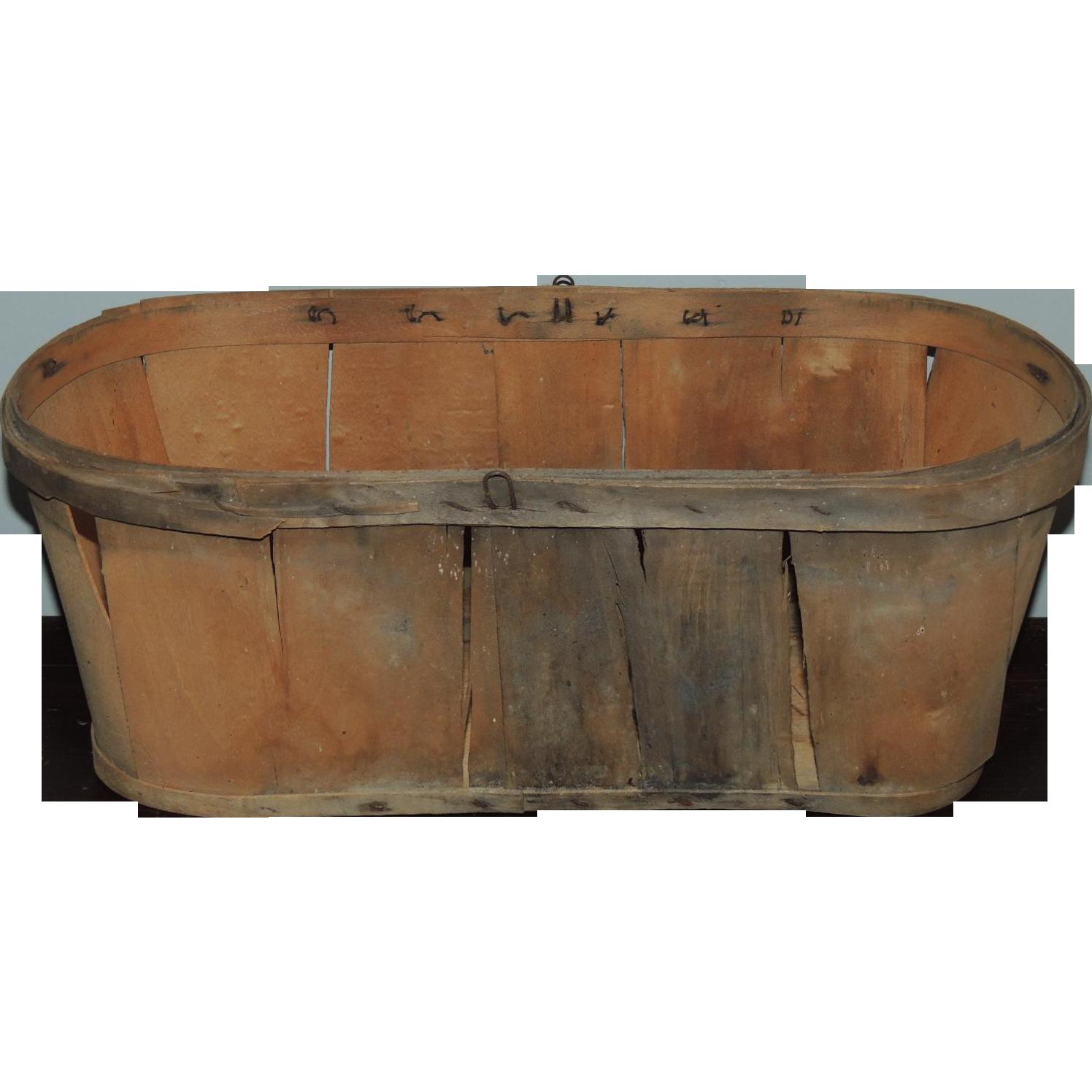Old Oak Wood ~ Antique oak wood splint oval market basket from