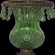 Huge EAPG Green Glass & Cast Iron Jardiniere Vase