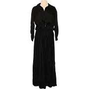 Late Victorian Edwardian Black Silk Mourning Shirtwaist Blouse and Petticoat Skirt