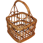 French Country Bamboo Wicker Champagne Wine Bottle Carrier Basket