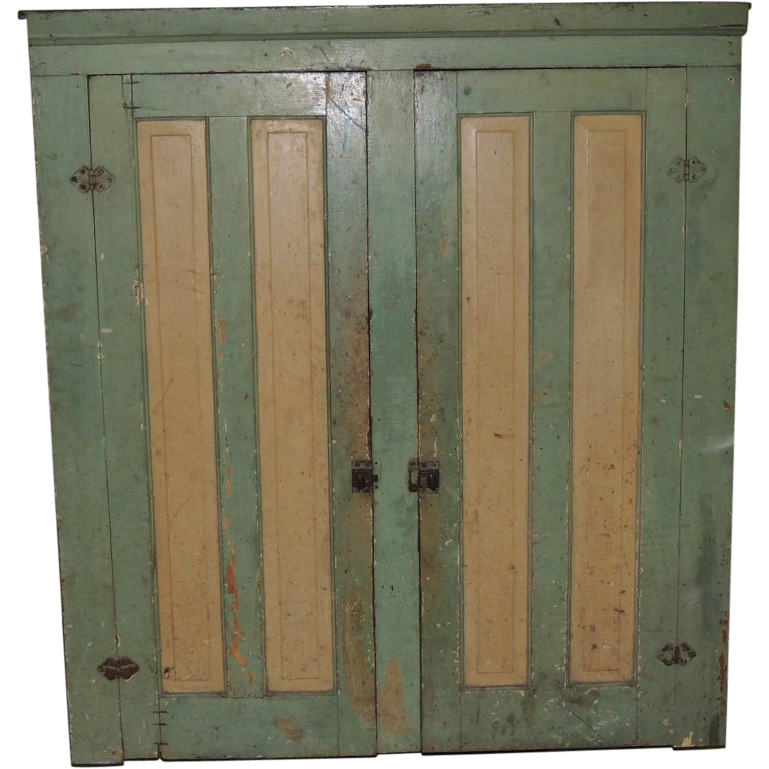 Antique Primitive 2 Door Blind Hanging Cupboard Cream & Green Paint
