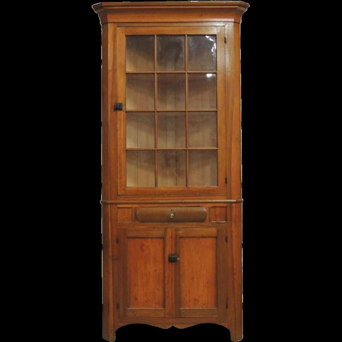 1850 Antique Primitive 2 Pc Corner Cupboard