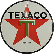 1937 Porcelain Enamel Double Sided Texaco Service Station Sign