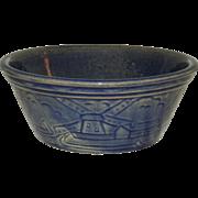 1920s Blue Glazed Crock Stoneware Pottery Bowl Farm & Windmill