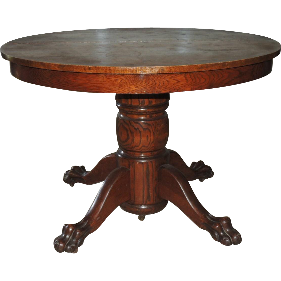 Antique Victorian Round Oak Paw Foot Banquet Dining Table Extends Up To  7.75 Feet