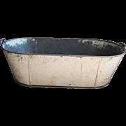 Antique Primitive Toleware Child's Baby Tin Tole Bath Tub