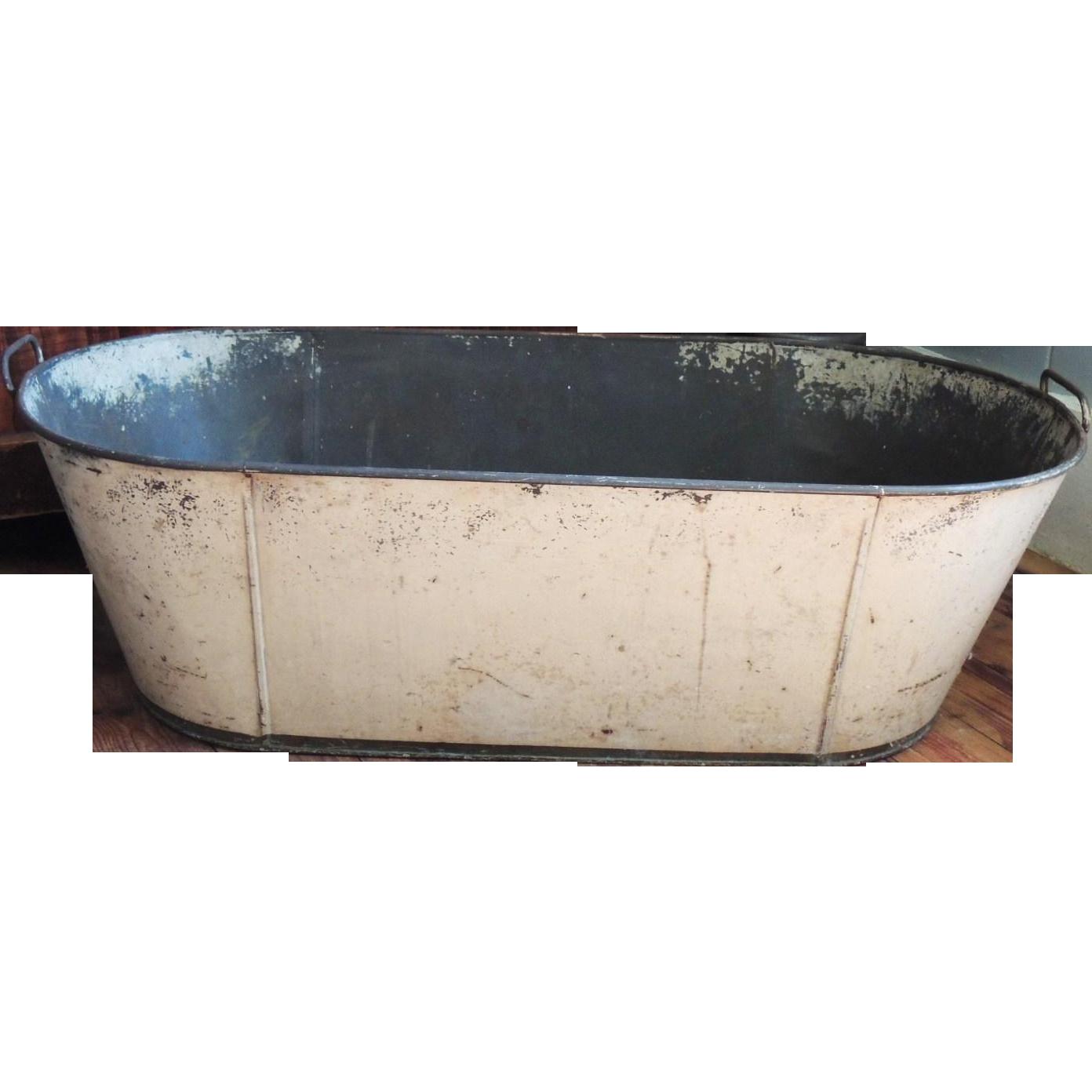 antique primitive toleware child 39 s baby tin tole bath tub from conjunktio. Black Bedroom Furniture Sets. Home Design Ideas