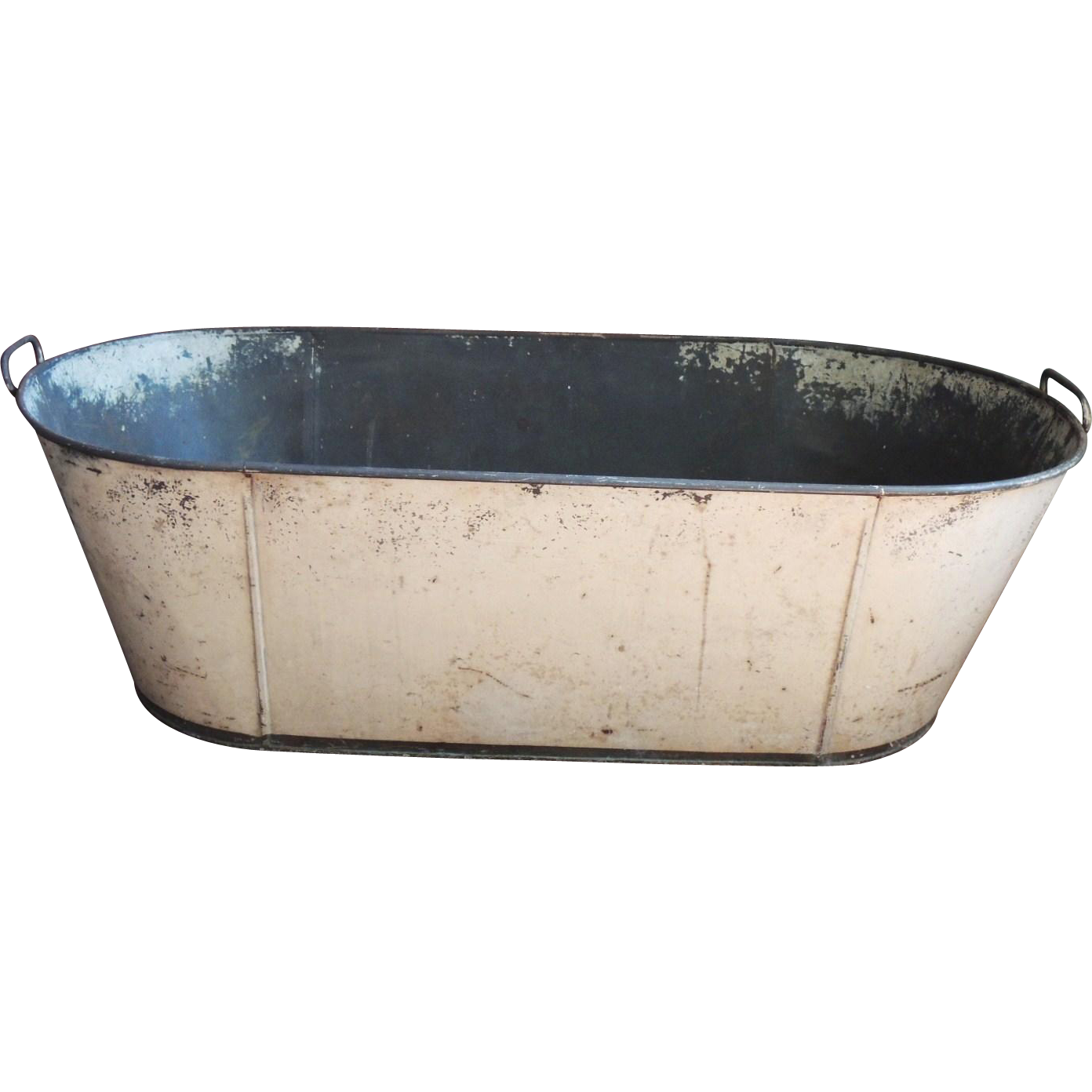 antique primitive toleware child 39 s baby tin tole bath tub