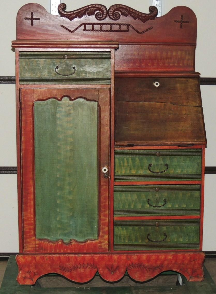 Roll over Large image to magnify, click Large image to zoom - Antique Side By Side Secretary Desk With Decorated Red Green Paint