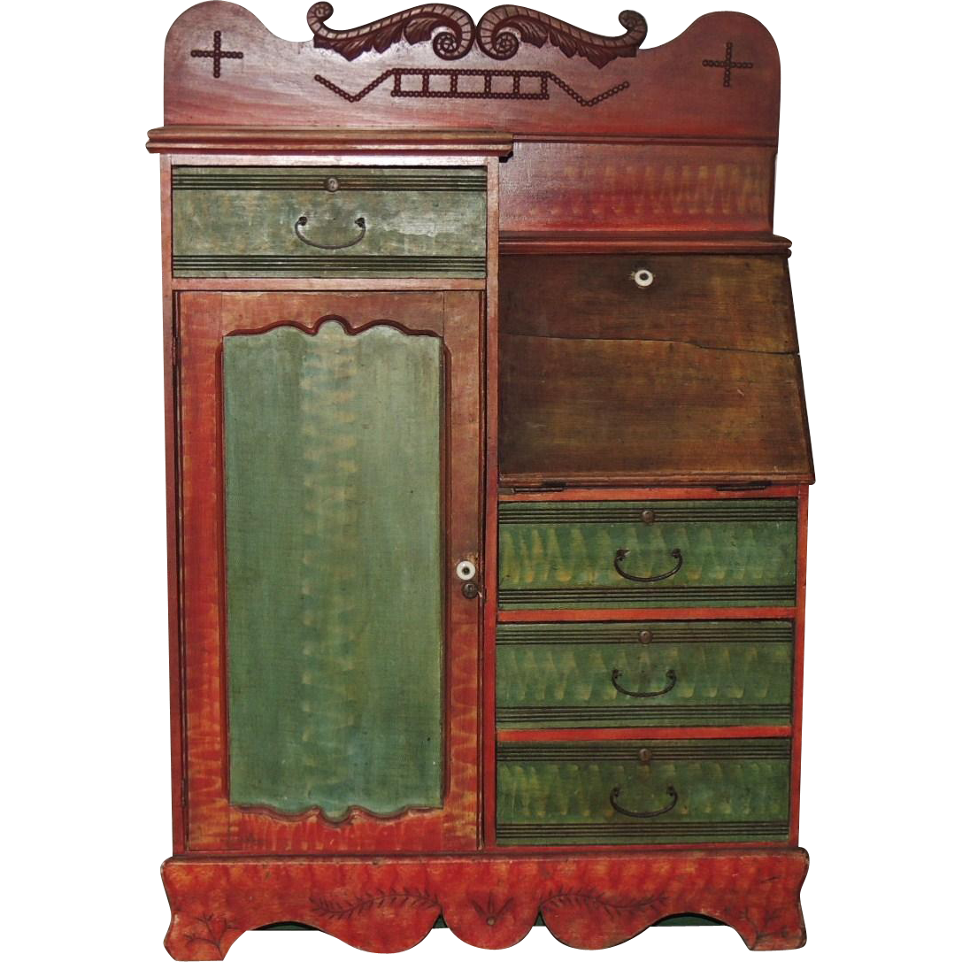 Antique Side by Side Secretary Desk with Decorated Red Green Paint - Antique Side By Side Secretary Desk With Decorated Red Green Paint