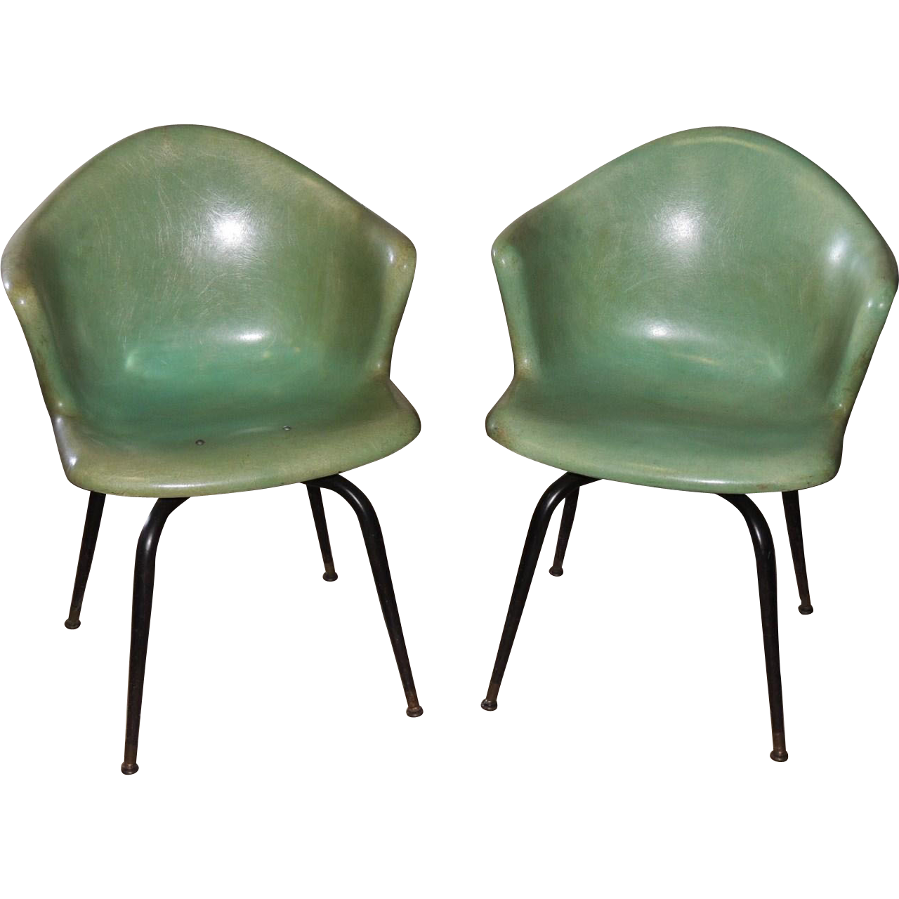 pair eames herman miller mid century fiberglass shell arm chair from conjunktionjunktionantiques. Black Bedroom Furniture Sets. Home Design Ideas