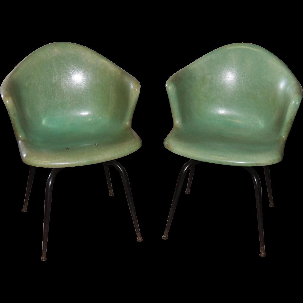 Pair Eames Herman Miller Mid Century Fiberglass Shell Arm Chair