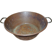 19th Century Large Solid Copper Handled Basin Pan